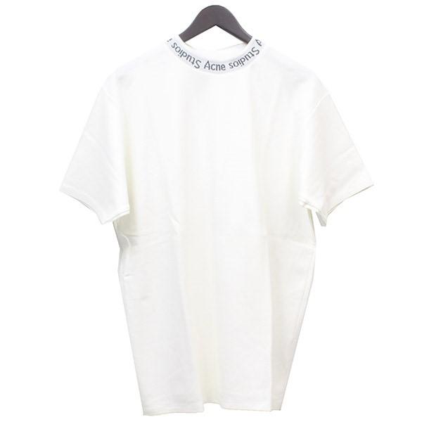 【中古】ACNE STUDIOS 襟ロゴ Tシャツ ホワイト サイズ:M 【100520】(アクネステュディオス)
