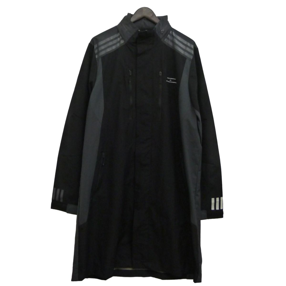 【中古】adidas Originals by WHITE MOUNTAINEERING 16AW「WM LONG COAT」ナイロンロングコート ブラック×グレー サイズ:0 【120520】(アディダスオリジナルスバイホワイトマウンテニアリング)