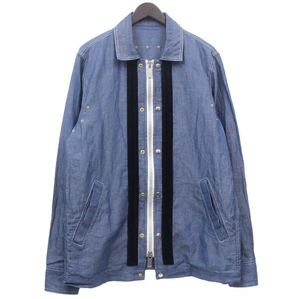 【中古】sacai ジップアップ シャンブレー ジャケット ブルゾン インディゴ サイズ:2 【120520】(サカイ)