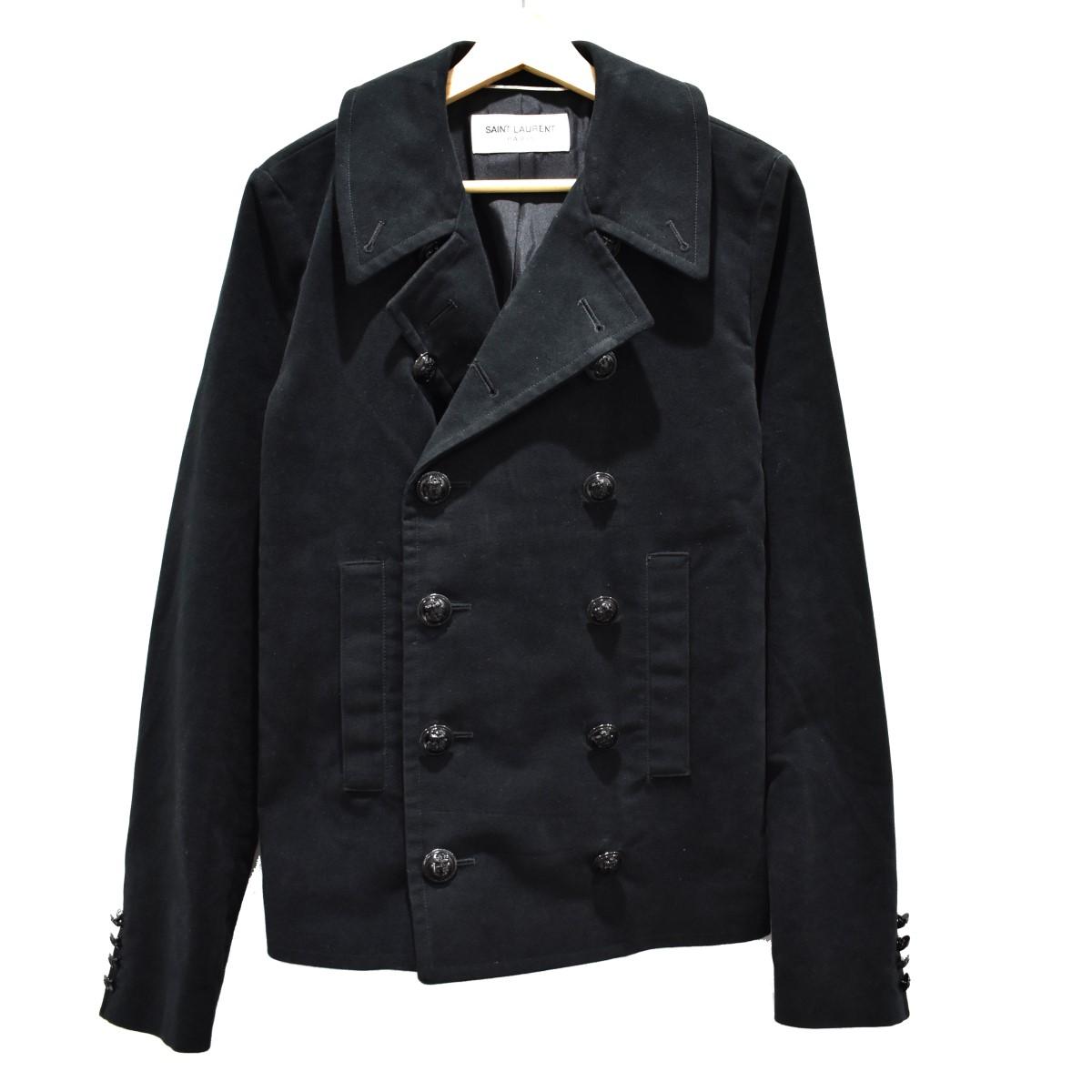 【中古】SAINT LAURENT PARIS 13AW モールスキンPコート ブラック サイズ:44 【130520】(サンローランパリ)