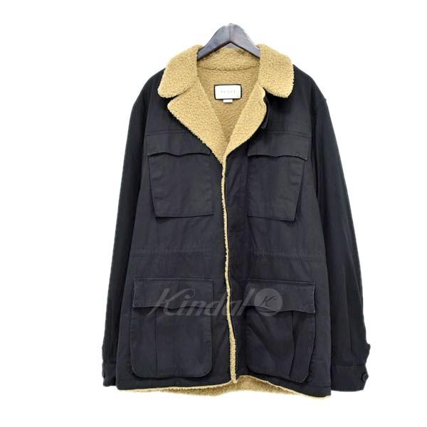 【中古】GUCCI バック ロゴ ボアジャケット ブラック サイズ:50 【130520】(グッチ)