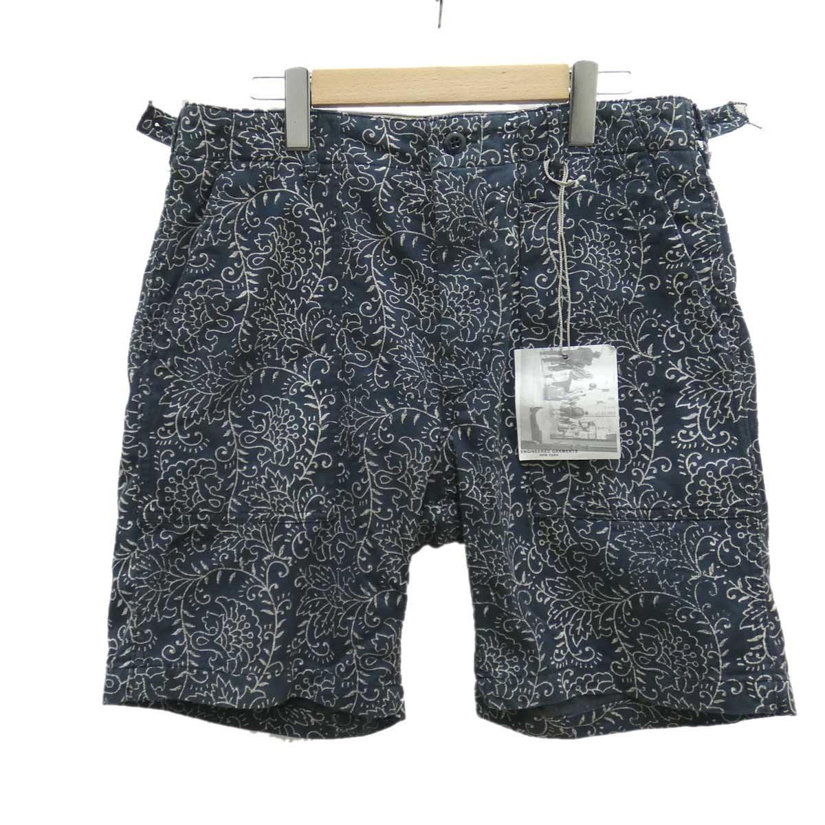 【中古】Engineered Garments 総柄ハーフパンツ ネイビー サイズ:32 【150520】(エンジニアードガーメンツ)