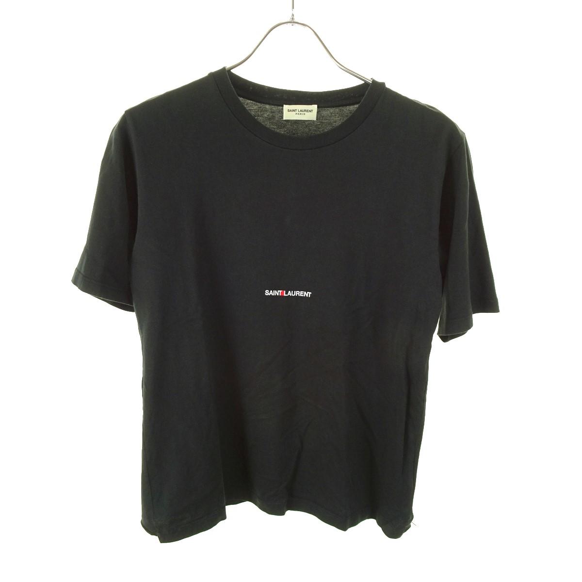 【中古】SAINT LAURENT PARIS クラシックロゴ プリントTシャツ 17SS ブラック サイズ:XS 【200520】(サンローランパリ)