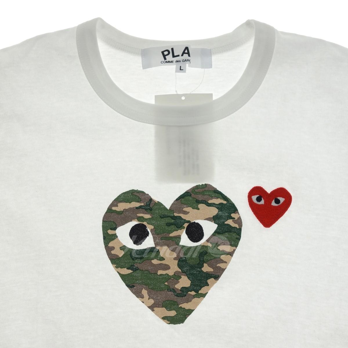 PLAY COMME des GARCONS 半袖Tシャツ ダブルカモ ホワイト×オリーブ×レッド サイズ L200520プレイコムデギャルソンlFcT3JK1