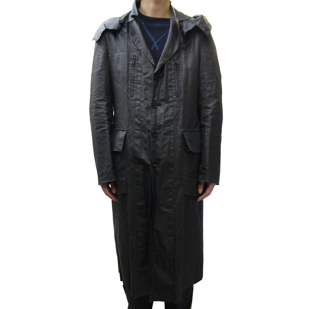 【中古】YOHJI YAMAMOTO pour homme 2008SS リネンフーデットロングコート/敗残兵期 ブラック サイズ:3 【210520】(ヨウジヤマモトプールオム)