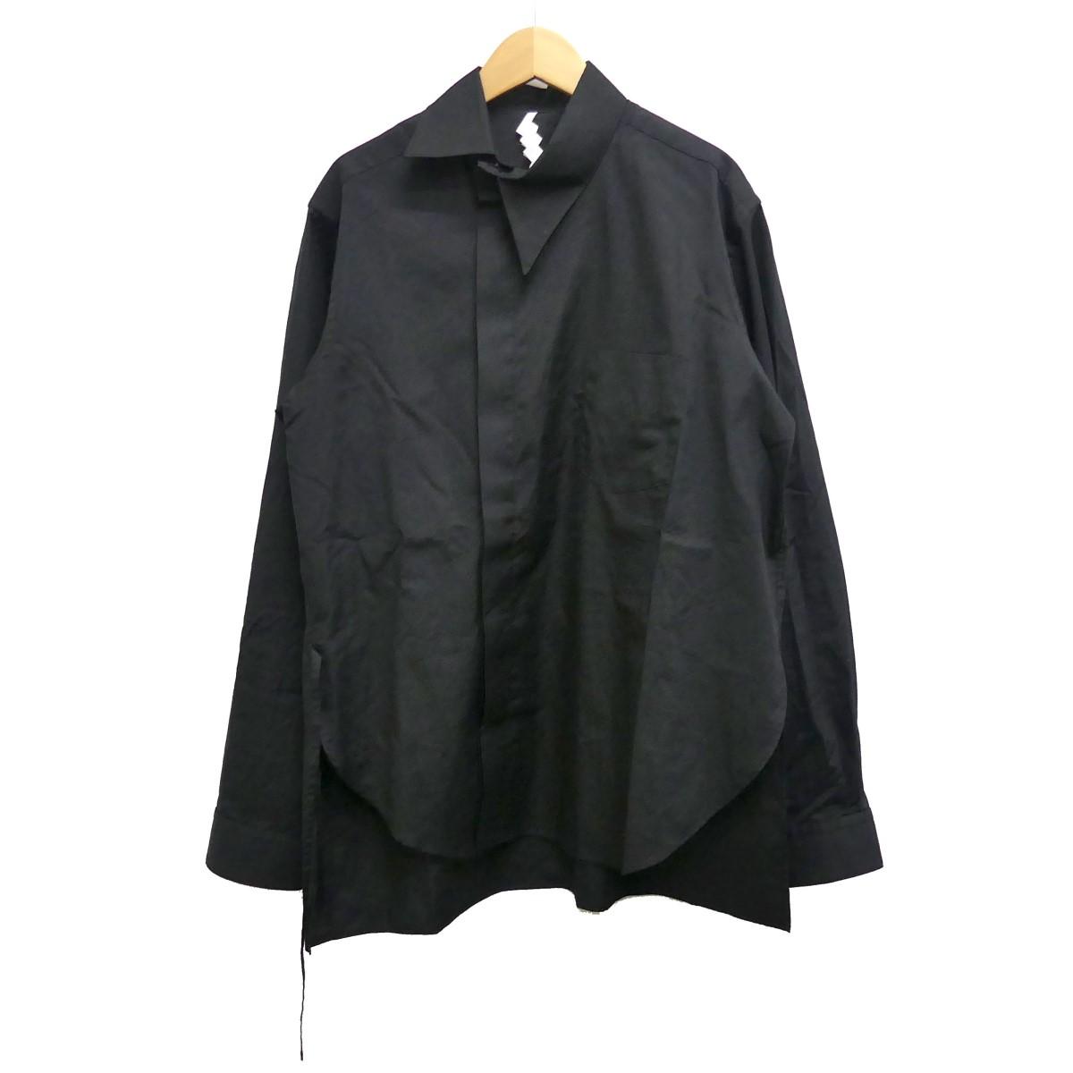 【中古】SOSHIOTSUKI 19AW Kimono Breasted Shirts デザインシャツ ブラック サイズ:46 【230520】(ソウシオオツキ)