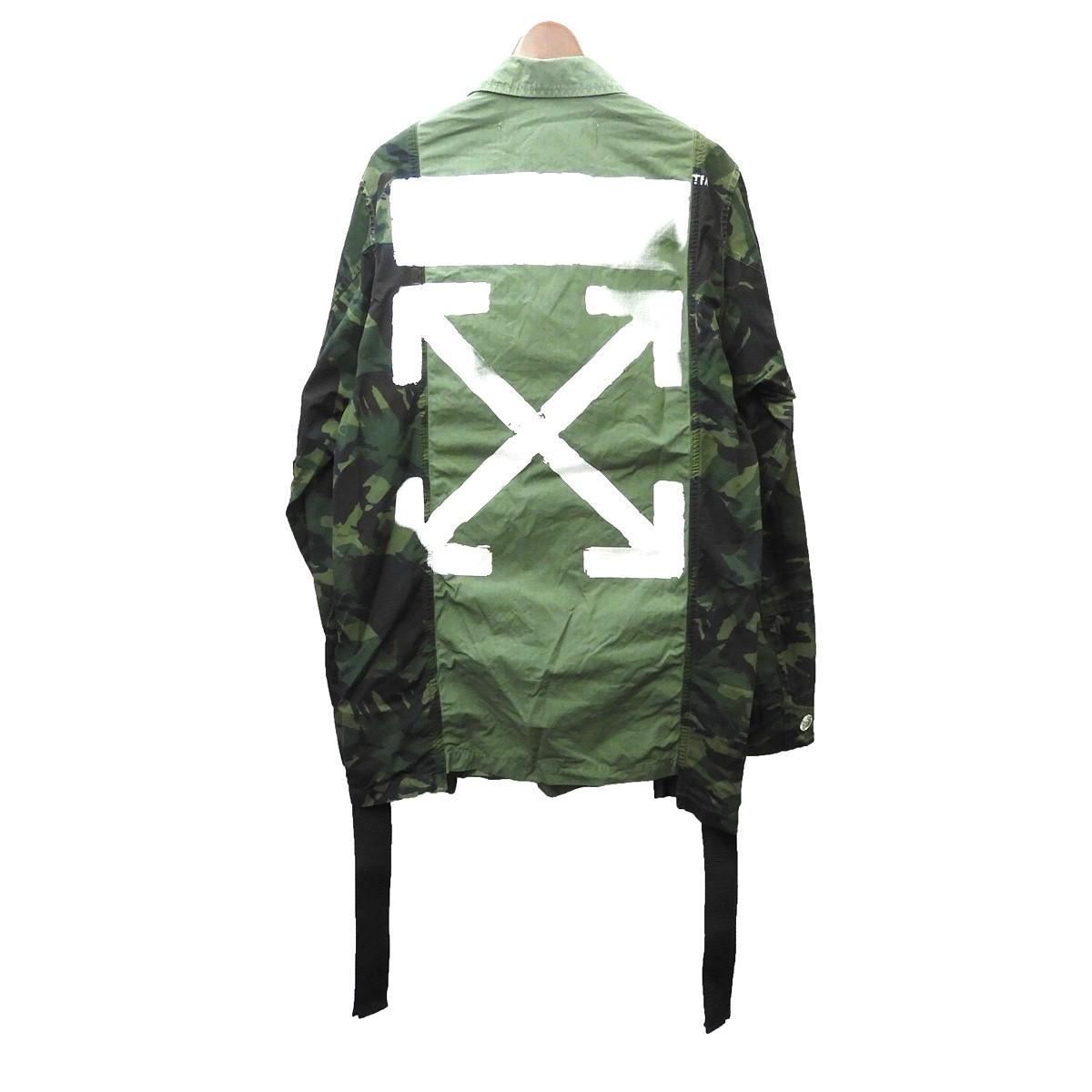 【中古】OFF WHITE ミリタリージャケット オリーブ サイズ:XXS 【250520】(オフホワイト)