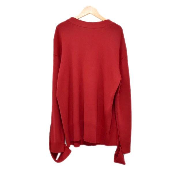 【中古】IRENE19AW Merino Wool Knit Tops デザインニットセーター レッド サイズ:36