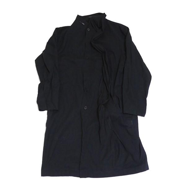 【中古】YOHJI YAMAMOTO pour homme 2018SS Dyed Coat with Stole シャツ コート ブラック サイズ:2 【250520】(ヨウジヤマモトプールオム)