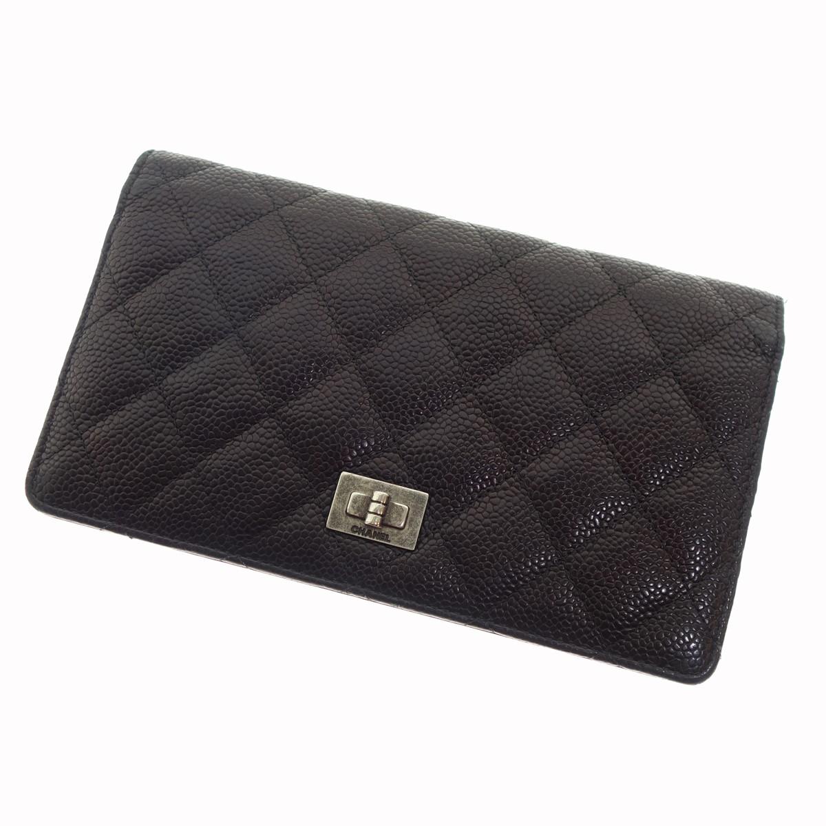 【中古】CHANEL 2.55長財布 キャビアスキン ブラック 【300520】(シャネル)