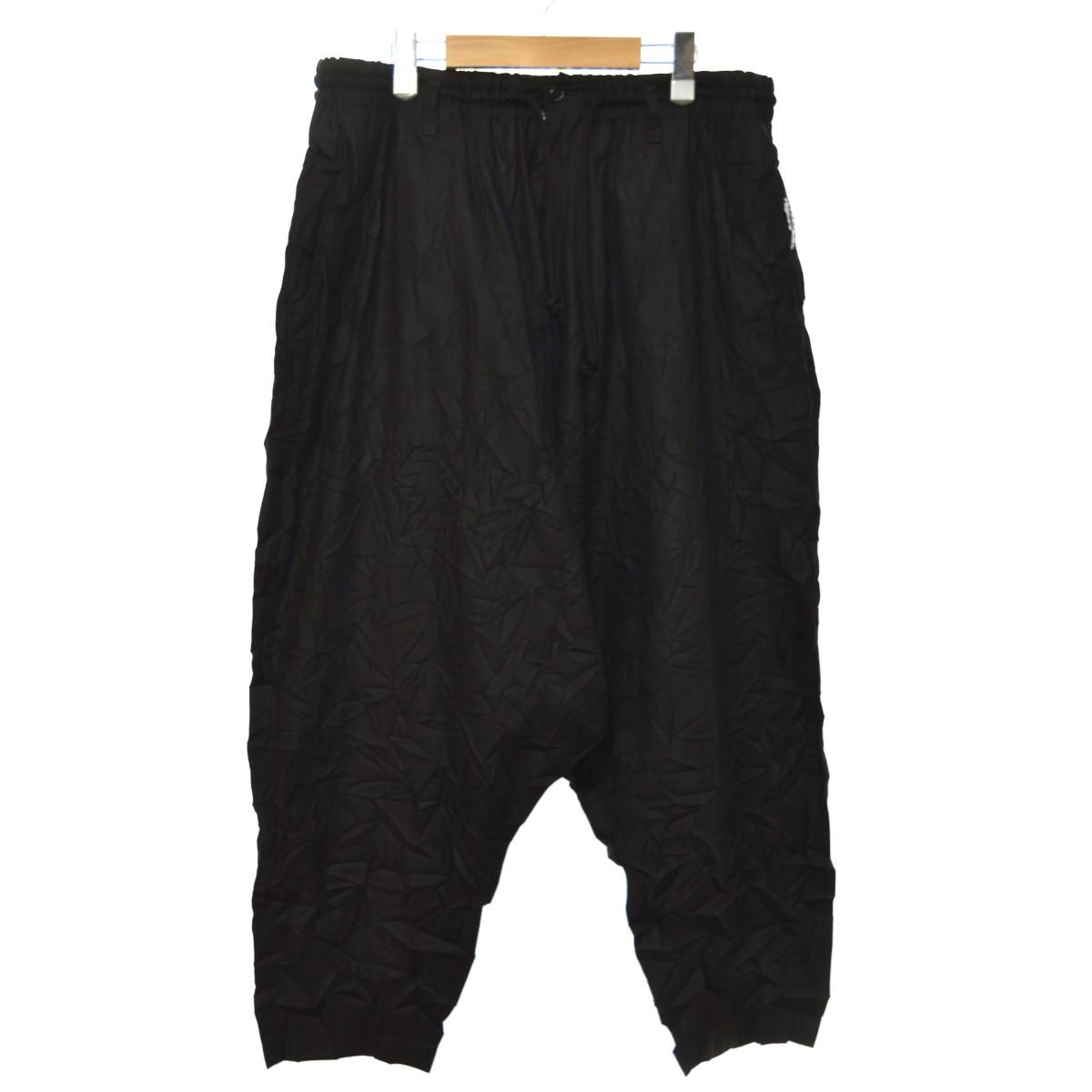 【中古】YOHJI YAMAMOTO pour homme 19SS 綿麻ツイルシワ加工サルエルパンツ ブラック サイズ:3 【310520】(ヨウジヤマモトプールオム)