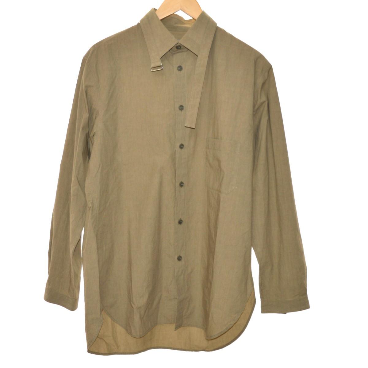 【中古】YOHJI YAMAMOTO pour homme 18SS 襟ベルト付きロングシャツ ベージュ サイズ:2 【310520】(ヨウジヤマモトプールオム)