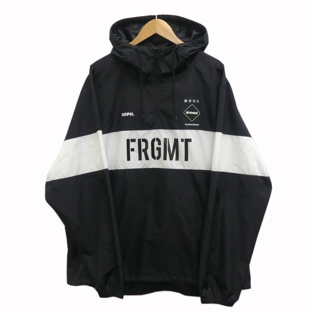 【中古】F.C.R.B.×Fragment Design 18AW TRAINING TOP SPONSORED BY FRGMT アノラックパーカー ブラック サイズ:L 【020620】(エフシーアールビー フラグメントデザイン)