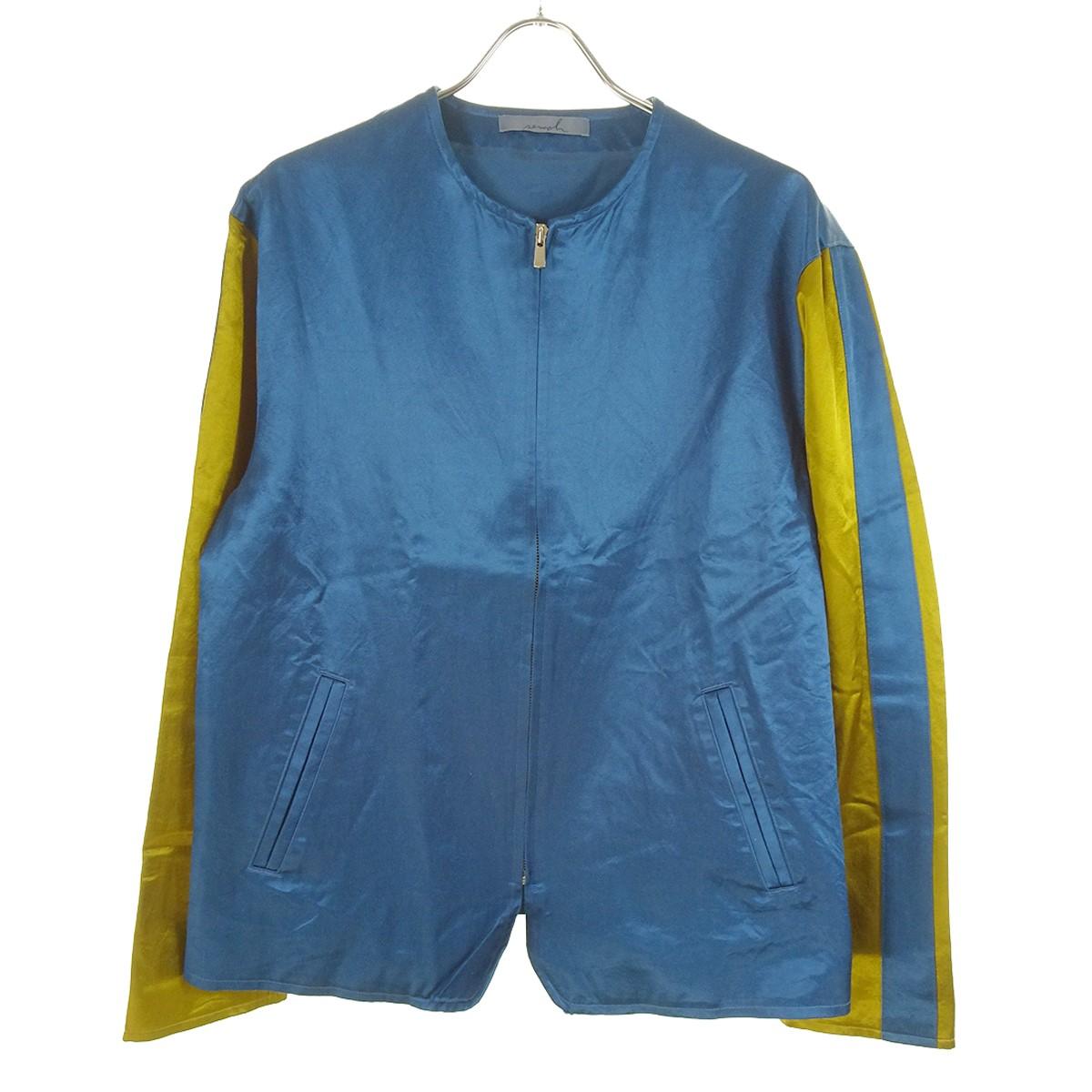 【中古】semoh サテンノーカラージップジャケット ブルー×ブラウン サイズ:2 【040620】(セモー)
