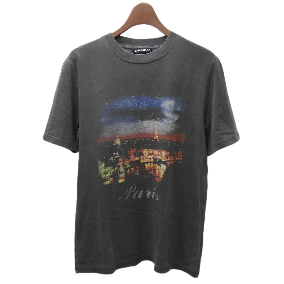 【中古】BALENCIAGA ヴィンテージ加工PARISプリントTシャツ グレー サイズ:XXS 【060620】(バレンシアガ)