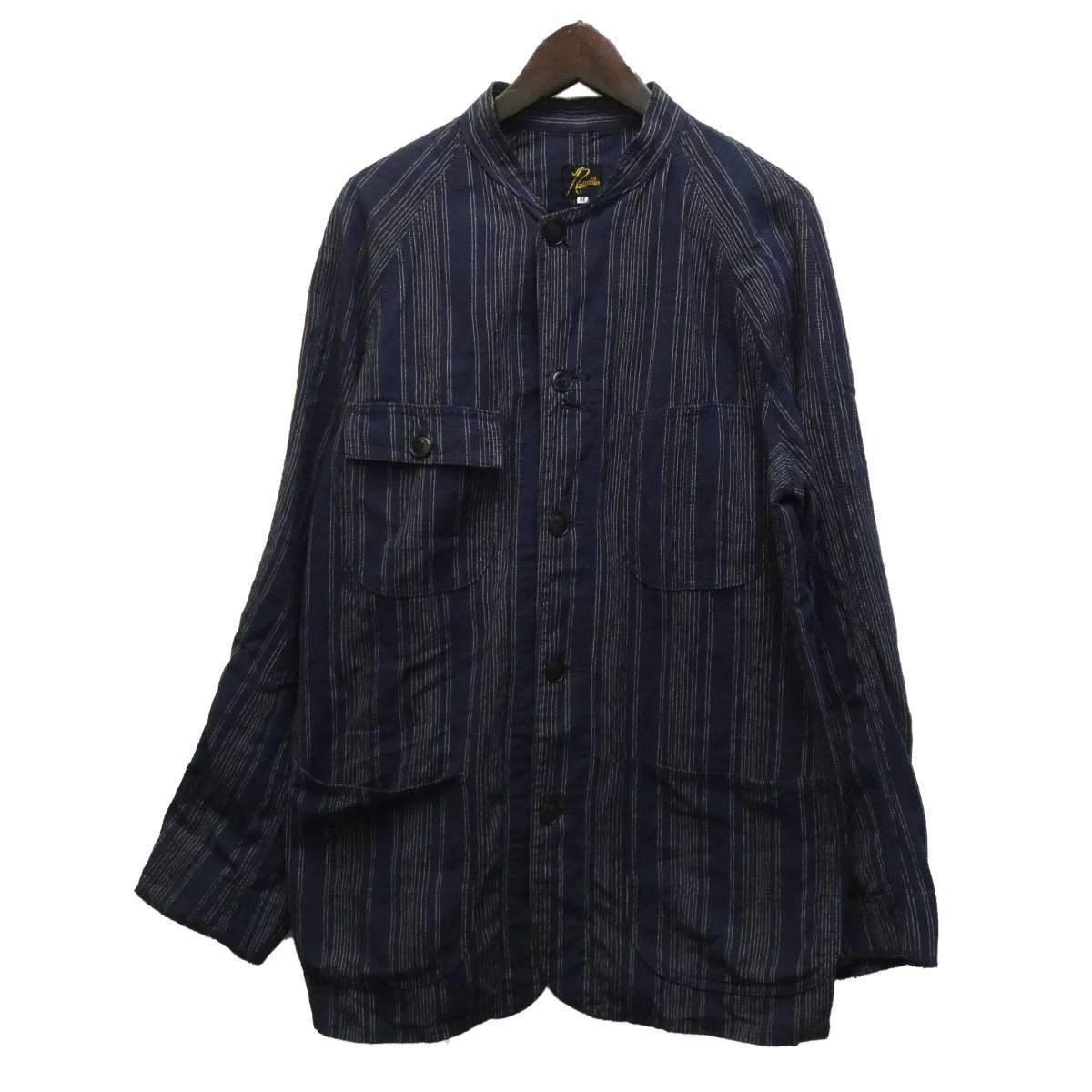 【中古】Needles バンドカラーストライプシャツジャケット ネイビー サイズ:M 【060620】(ニードルス)