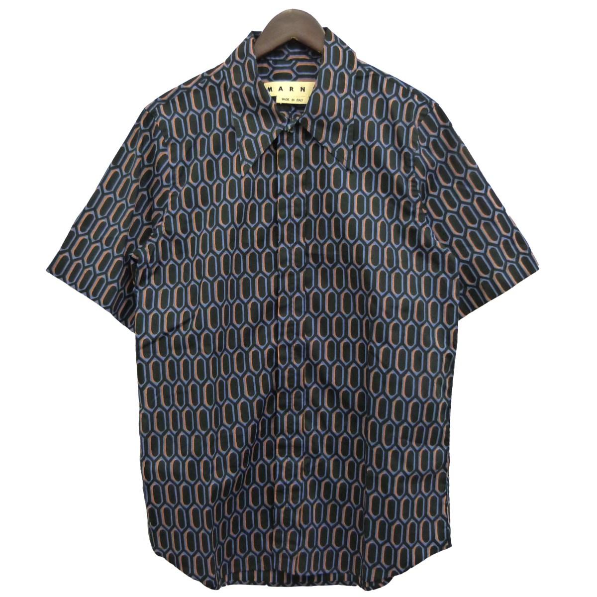【中古】MARNI 16SS半袖プリントシャツ ブラック×パープル サイズ:46 【090620】(マルニ)