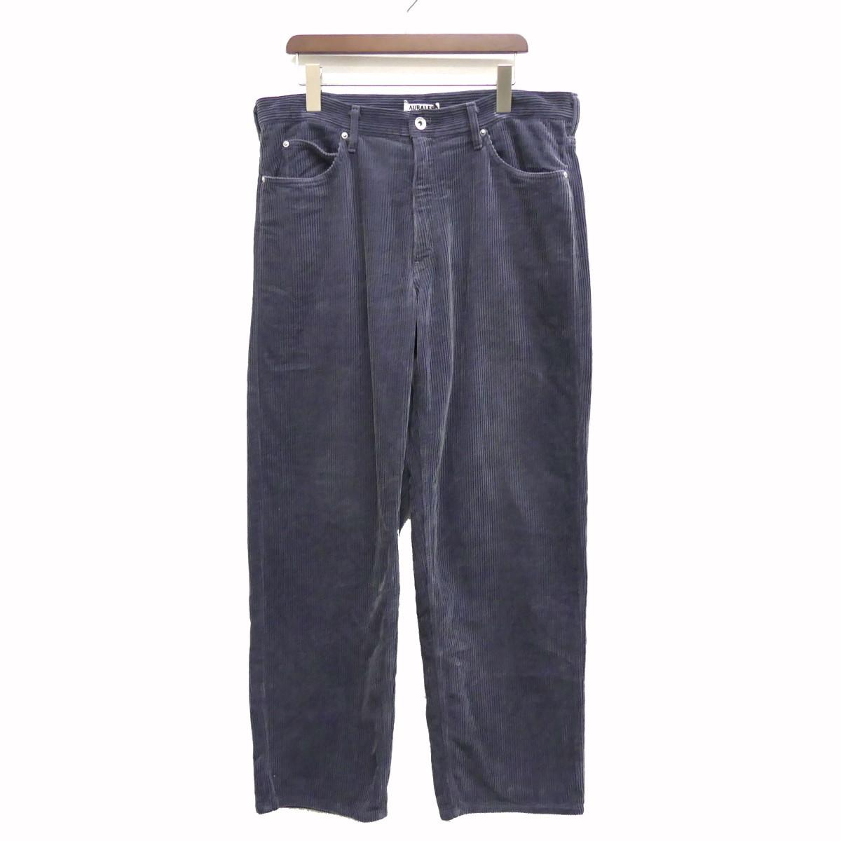 【中古】AURALEE 19AW WASHED CORDUROY 5P PANTS コーデュロイパンツ ダークブルー サイズ:4 【110620】(オーラリー)