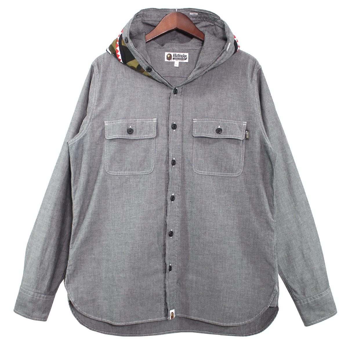 【中古】A BATHING APE シャンブレーシャークシャツ グレー サイズ:L 【120620】(アベイシングエイプ)