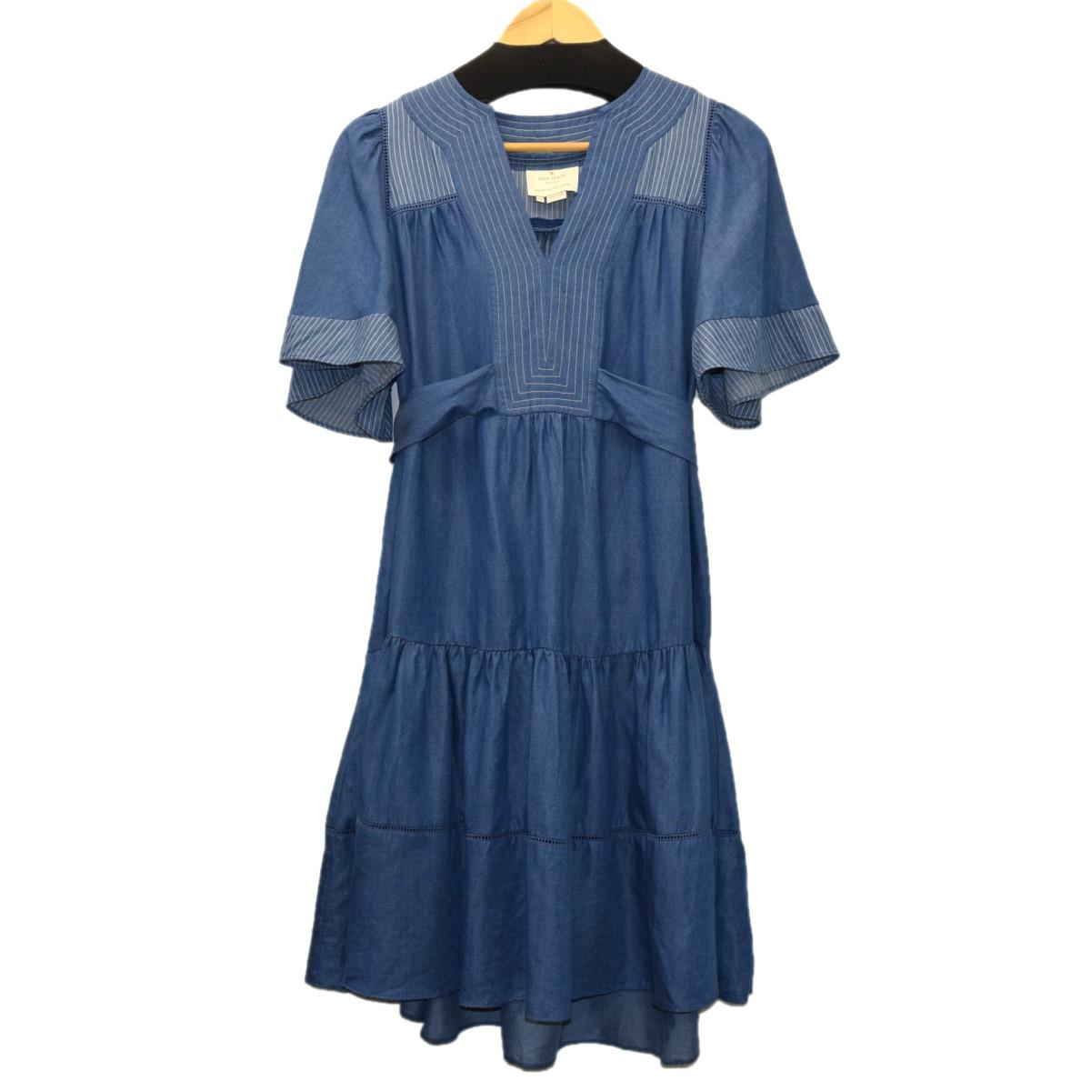 【中古】Kate spade インディゴレイルロードドレス インディゴ サイズ:XS 【130620】(ケイトスペード)
