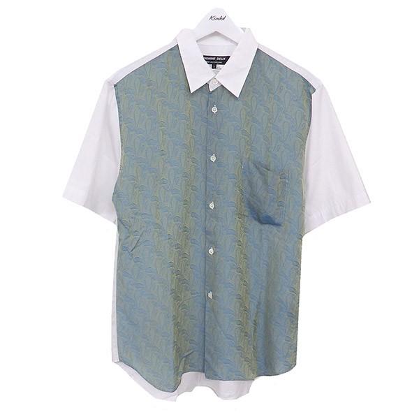 【中古】COMME des GARCONS HOMME DEUX 18SS ペイズリー切替シャツ ホワイト×グリーン サイズ:L 【130620】(コムデギャルソンオムドゥ)