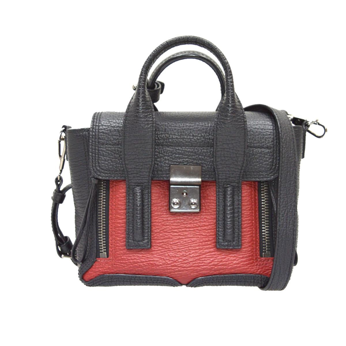 【中古】3.1 phillip lim Pashli Mini Leather Satchel Bag 2WAYハンドバッグ ブラック×レッド 【140620】(スリーワンフィリップリム)