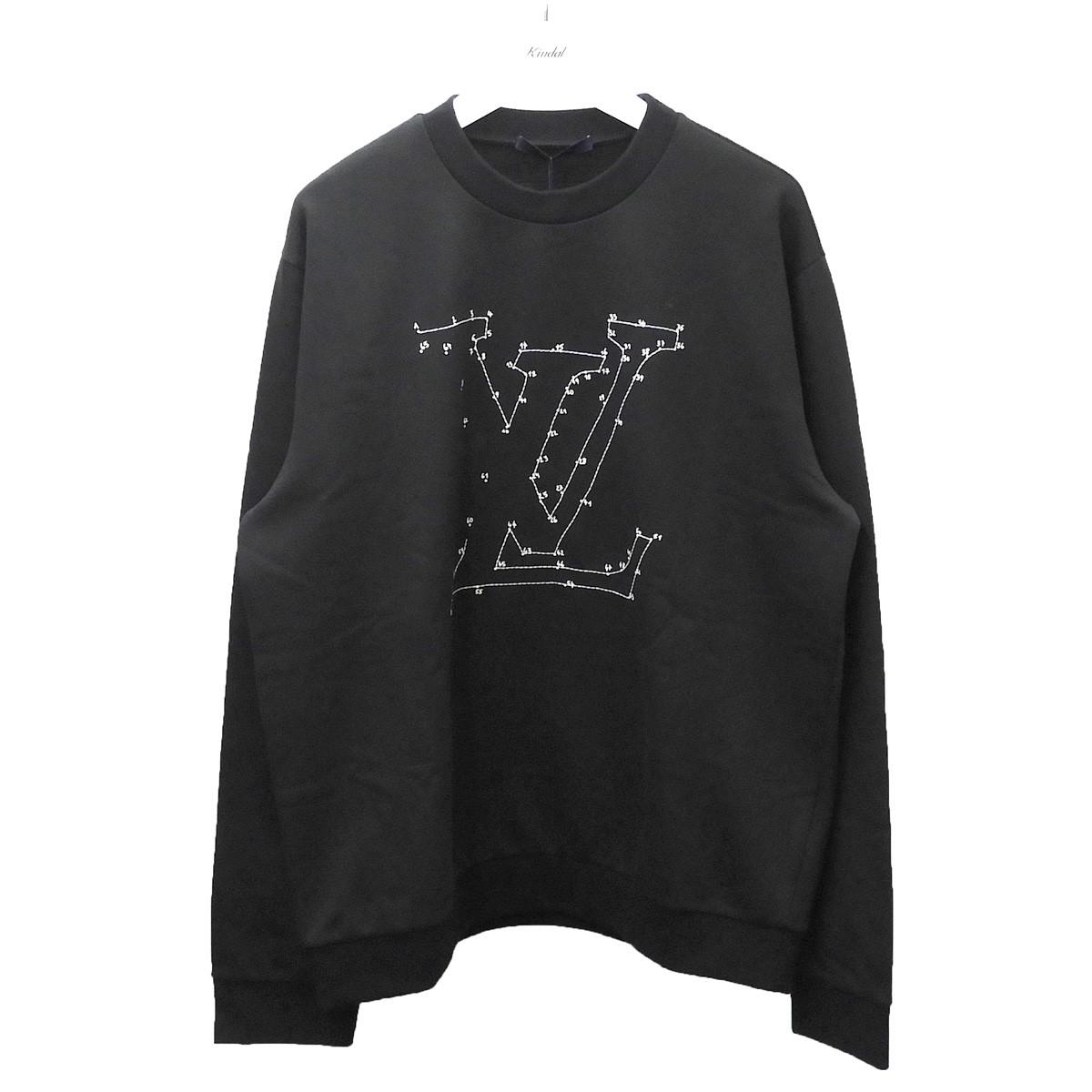 【中古】LOUIS VUITTON 2020SS LVステッチプリントエンブロイダリースウェット ブラック サイズ:XL 【150620】(ルイヴィトン)