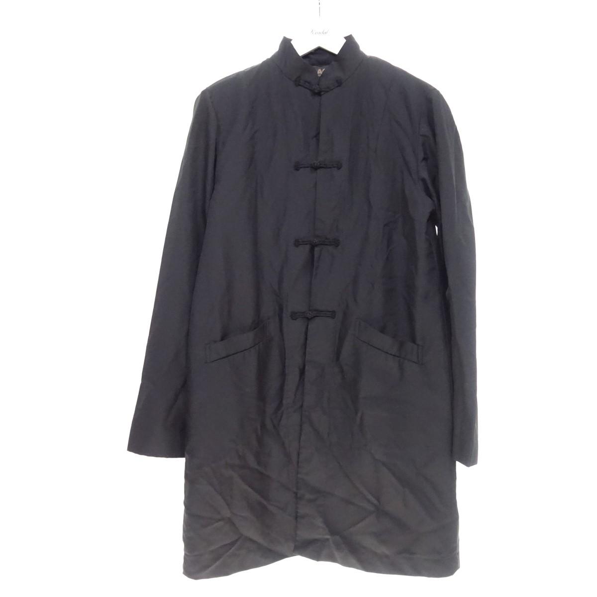 【中古】BLACK COMME des GARCONS 19SS 縮絨 ロングチャイナコート ブラック サイズ:M 【160620】(ブラックコムデギャルソン)
