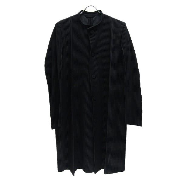 【中古】HOMME PLISSE ISSEY MIYAKE 2020SS プリーツ バンドカラー コート ブラック サイズ:2 【160620】(オムプリッセ イッセイ ミヤケ)