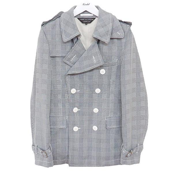 【中古】COMME des GARCONS HOMME PLUS グレンチェック コート ブラック×ホワイト サイズ:S 【160620】(コムデギャルソンオムプリュス)