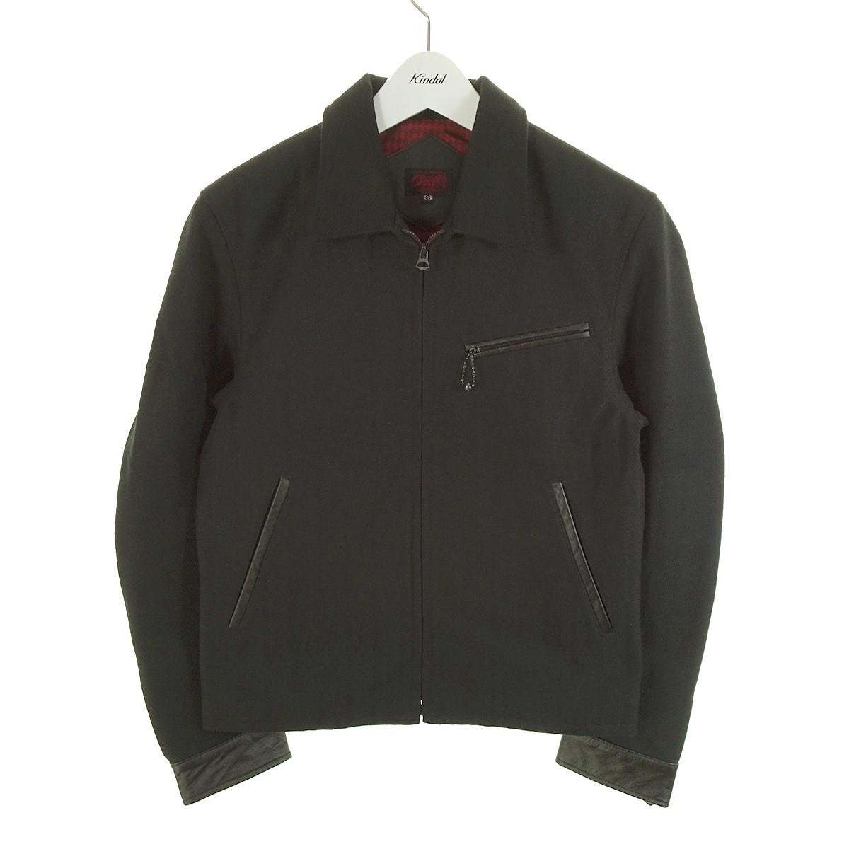 【中古】R.J.B バック刺繍ジップジャケット ブラック サイズ:36 【200620】(アールジェイビー)