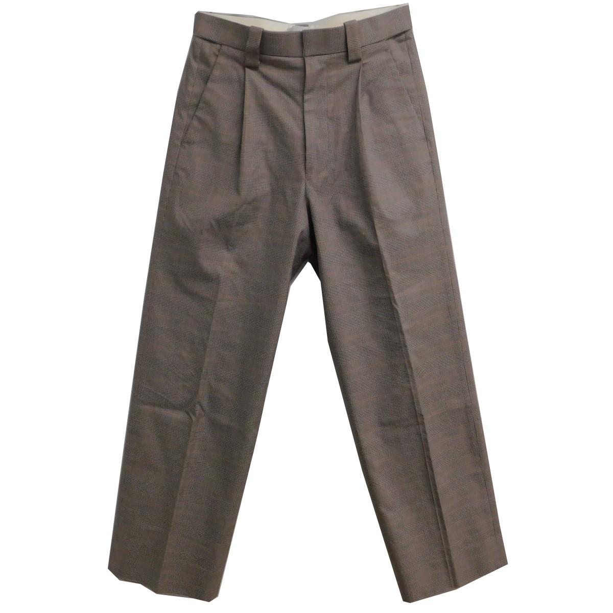 【中古】YOKE 2020SS 1TUCK EASY TAPERED PANTS グレー×レッド サイズ:S 【210620】(ヨーク)