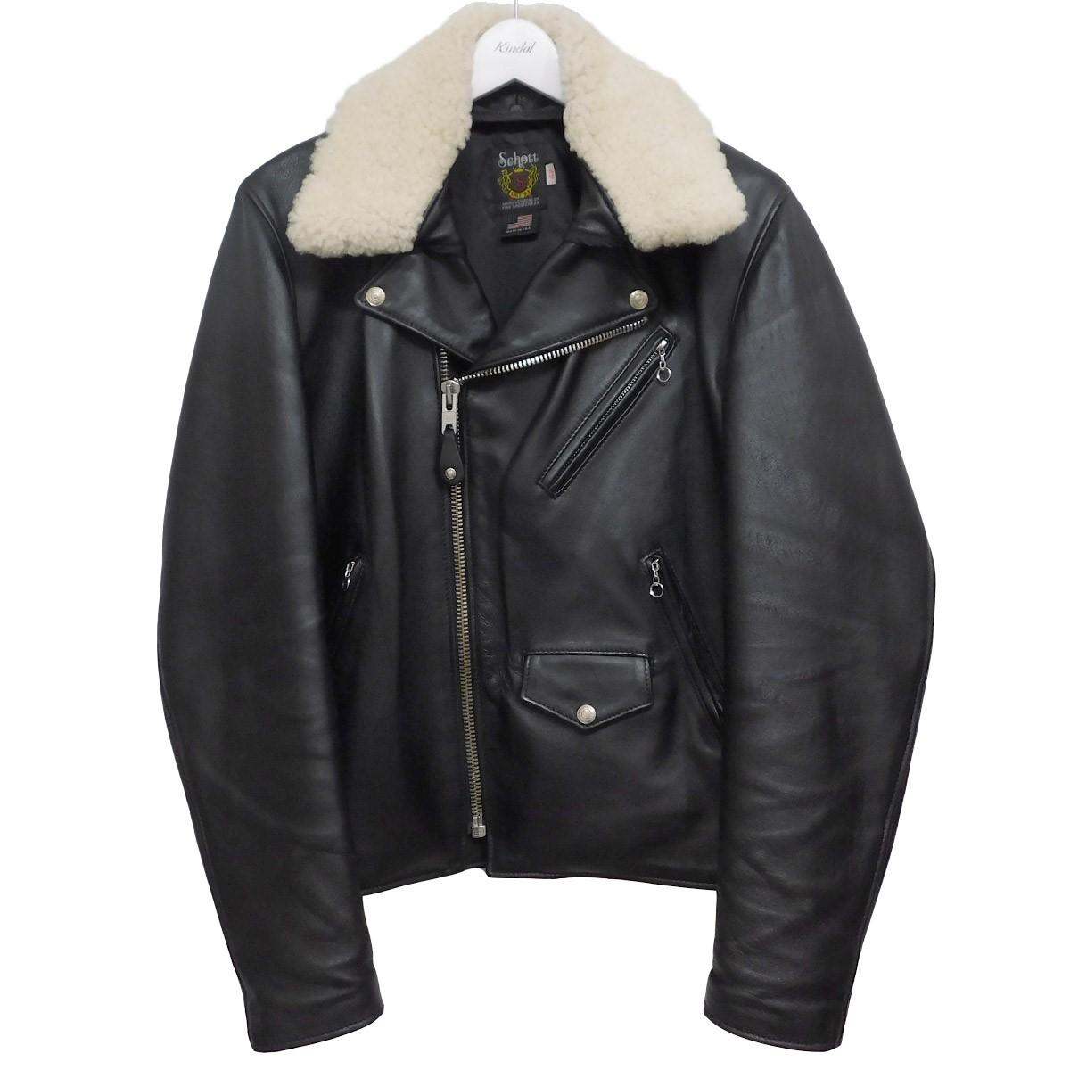 【中古】SCHOTT 7525 ボア付きラムレザーダブルライダースジャケット ブラック サイズ:42 【220620】(ショット)