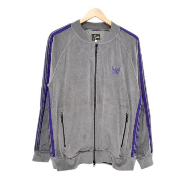 【中古】NeedlesRib Collar Track Jacket  トラックジャケット EJ201 グレー×パープル サイズ:M 【6月26日見直し】