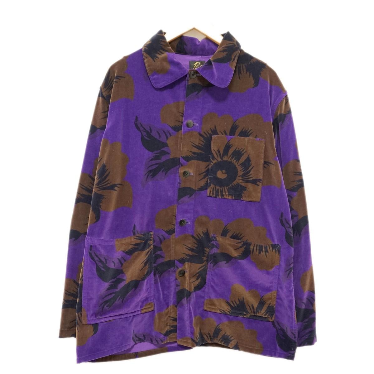 【中古】Needles19AW ベロアシャツジャケット パープル サイズ:M 【6月26日見直し】