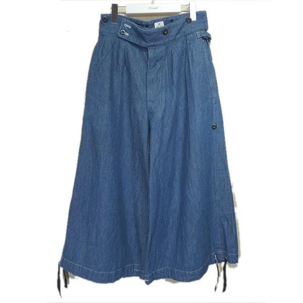 【中古】MAINU 2018SS「Denim Wide Pants」デニムパンツ インディゴ サイズ:1 【240620】(マイヌ)