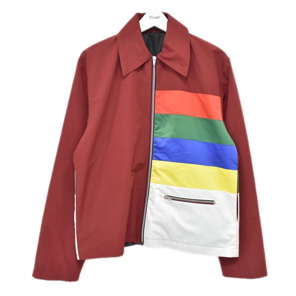 【中古】XANDER ZHOU 19AW カラーブロッキングジップジャケット レッド・イエロー他 サイズ:44 【260620】(サンダーゾウ)
