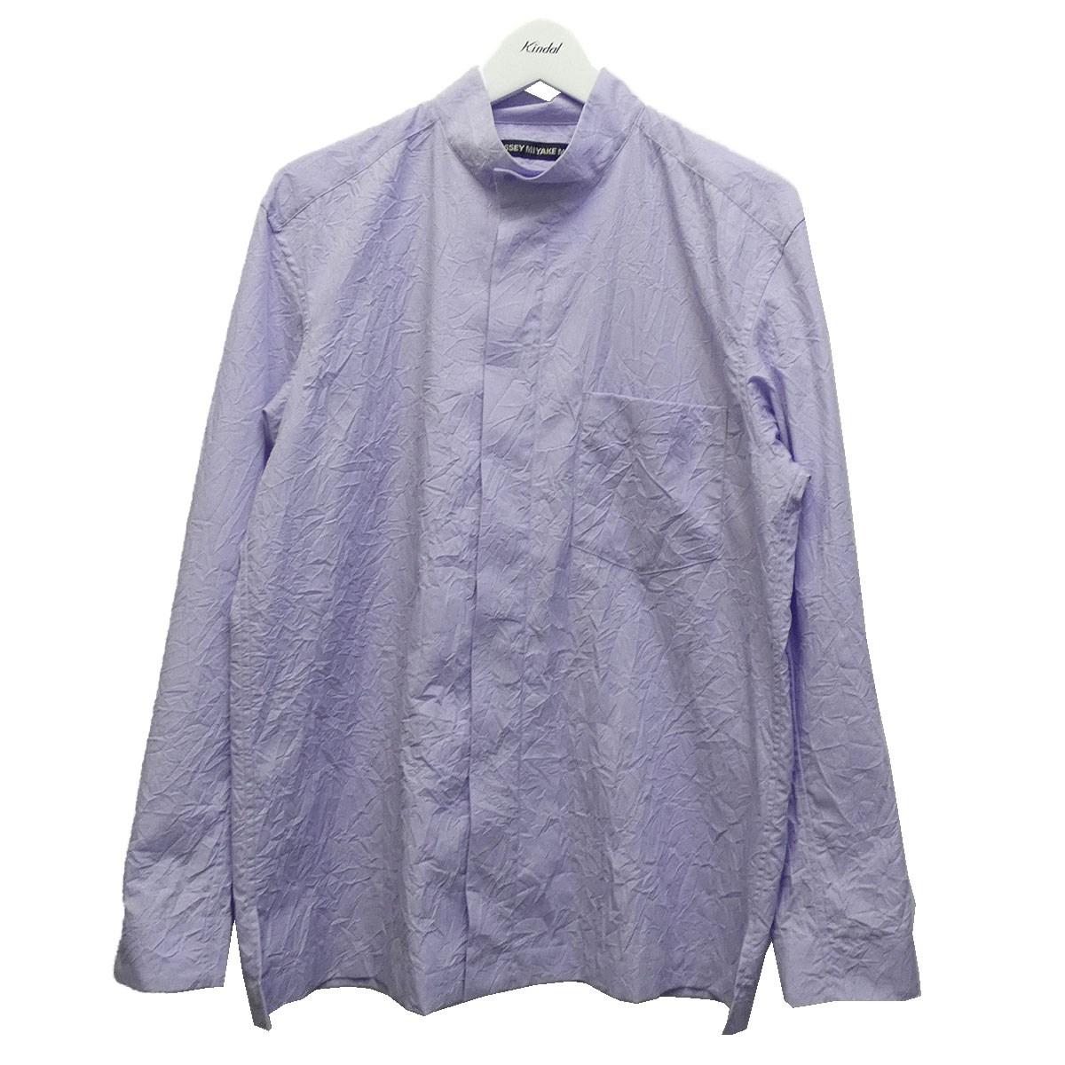 【日本限定モデル】 【】ISSEY MIYAKE MEN 19AW シワ加工スタンドカラーシャツ パープル サイズ:3 【260620】(イッセイミヤケ メン), BleeeK 0616deec