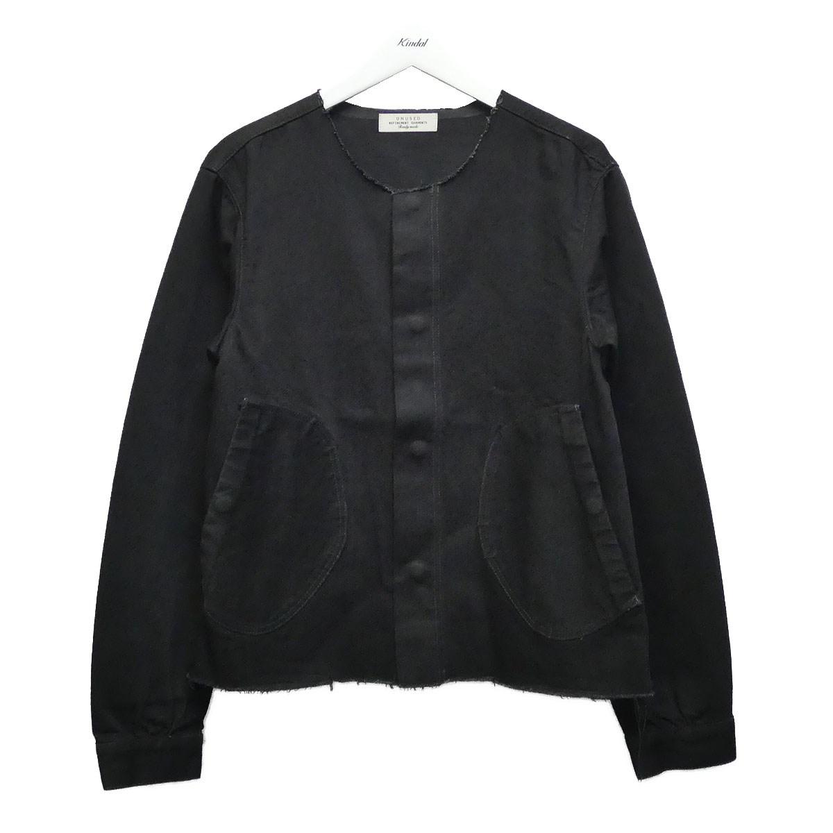 【中古】UNUSED カットオフノーカラーデニムジャケット ブラック サイズ:2 【260620】(アンユーズド)