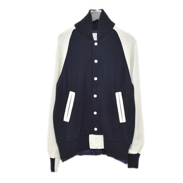 【中古】sacai カシミヤ混 ウールジャケット ネイビー×ホワイト サイズ:2 【270620】(サカイ)