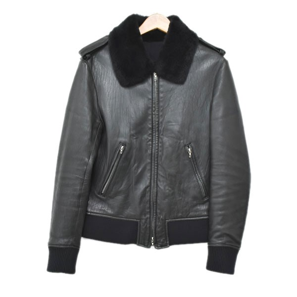 【中古】Lithium homme ムートンレザーボンバージャケット 1522-0303 ブラック サイズ:1 【270620】(リチウムオム)