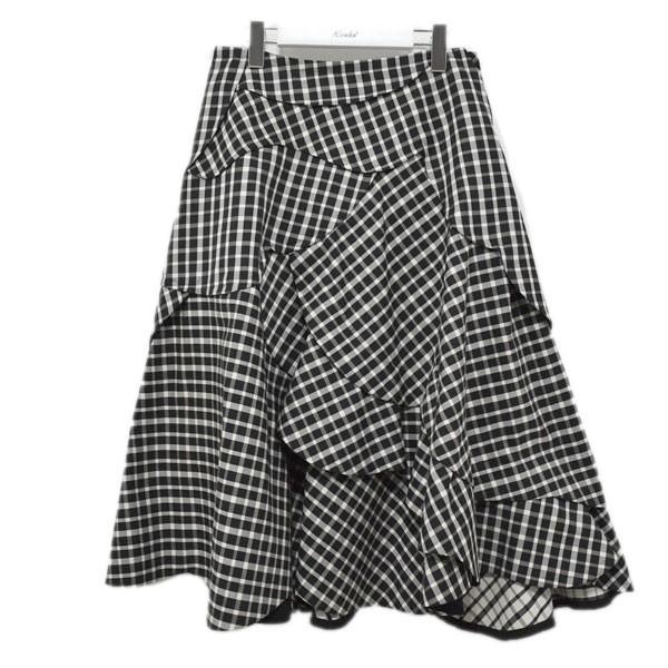 【中古】tricot COMME des GARCONS 20SS ギンガムチェック フレアスカート TE-S012 ブラック×ホワイト サイズ:M 【010720】(トリココムデギャルソン)