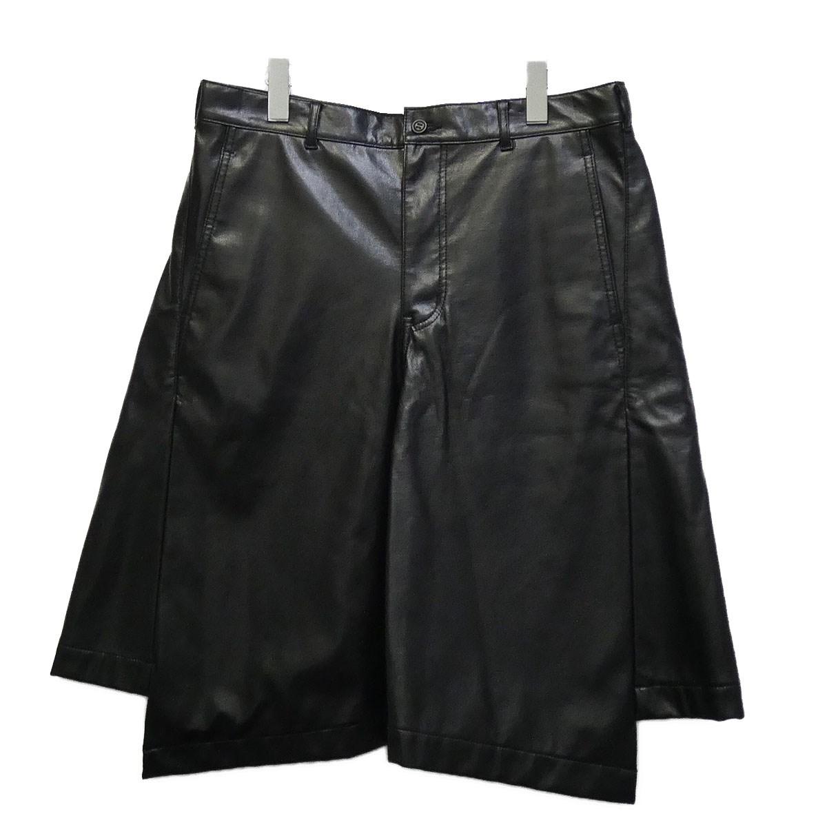 【中古】COMME des GARCONS HOMME PLUS 16AW フェイクレザーショーツ ブラック サイズ:M 【010720】(コムデギャルソンオムプリュス)