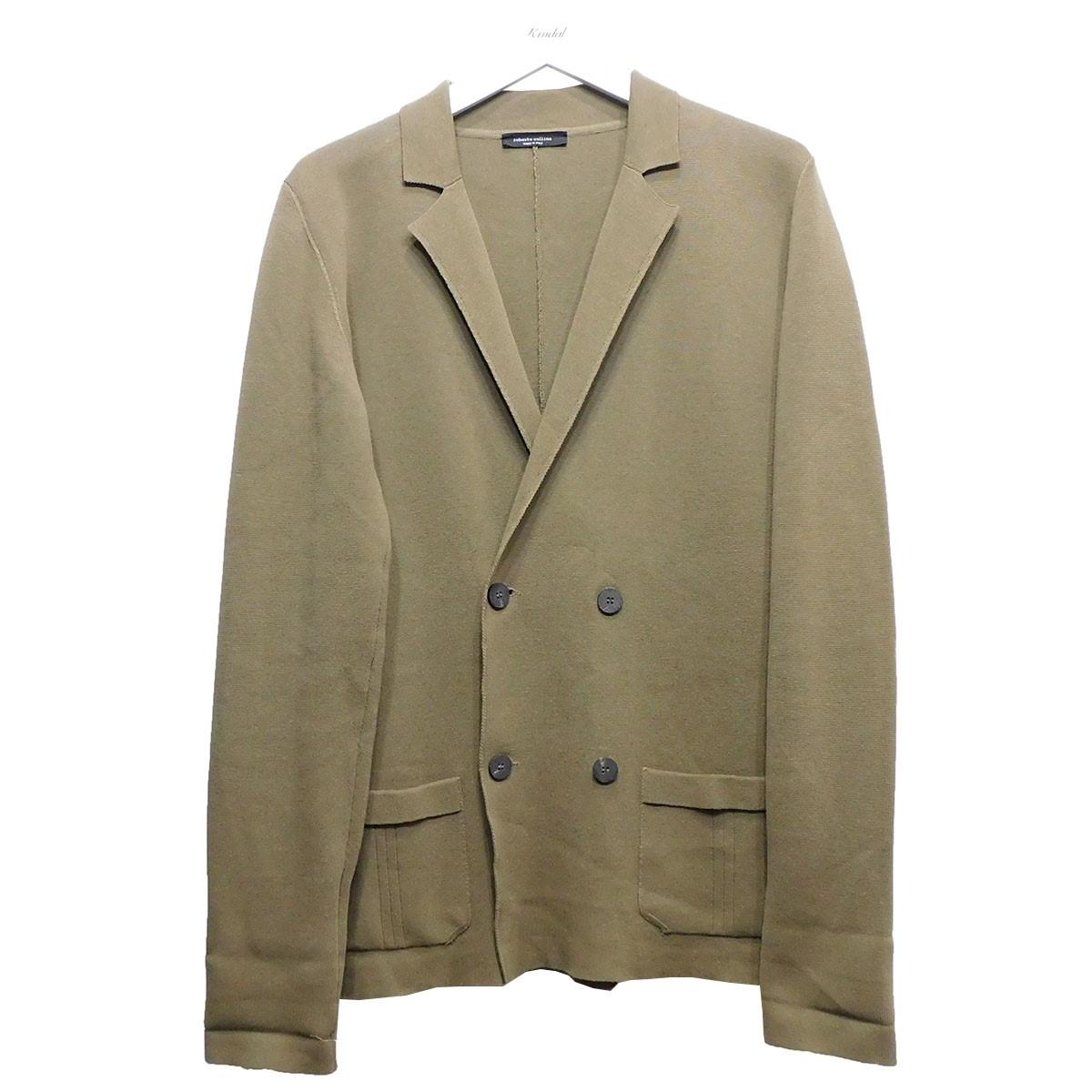 【中古】ROBERTO COLLINA ダブルブレストニットジャケット ブラウン サイズ:48 【010720】(ロベルトコリーナ)