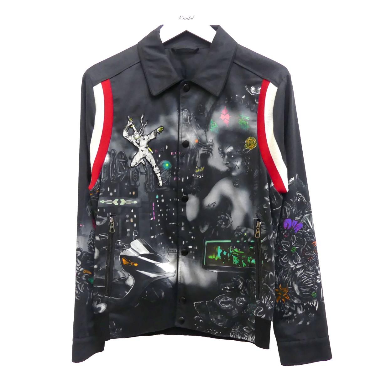 【中古】LANVIN 17SS デザインコーチジャケット ブラック サイズ:44 【020720】(ランバン)