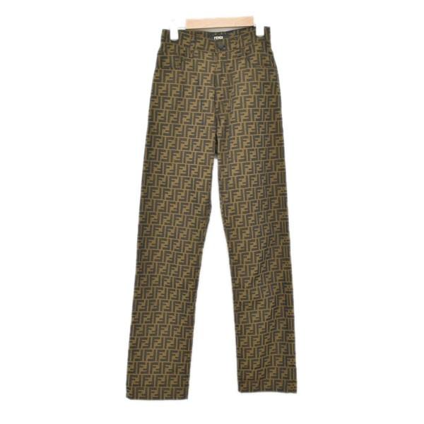 【中古】FENDI FFロゴ 総柄パンツ ブラウン サイズ:30/34 【030720】(フェンディ)