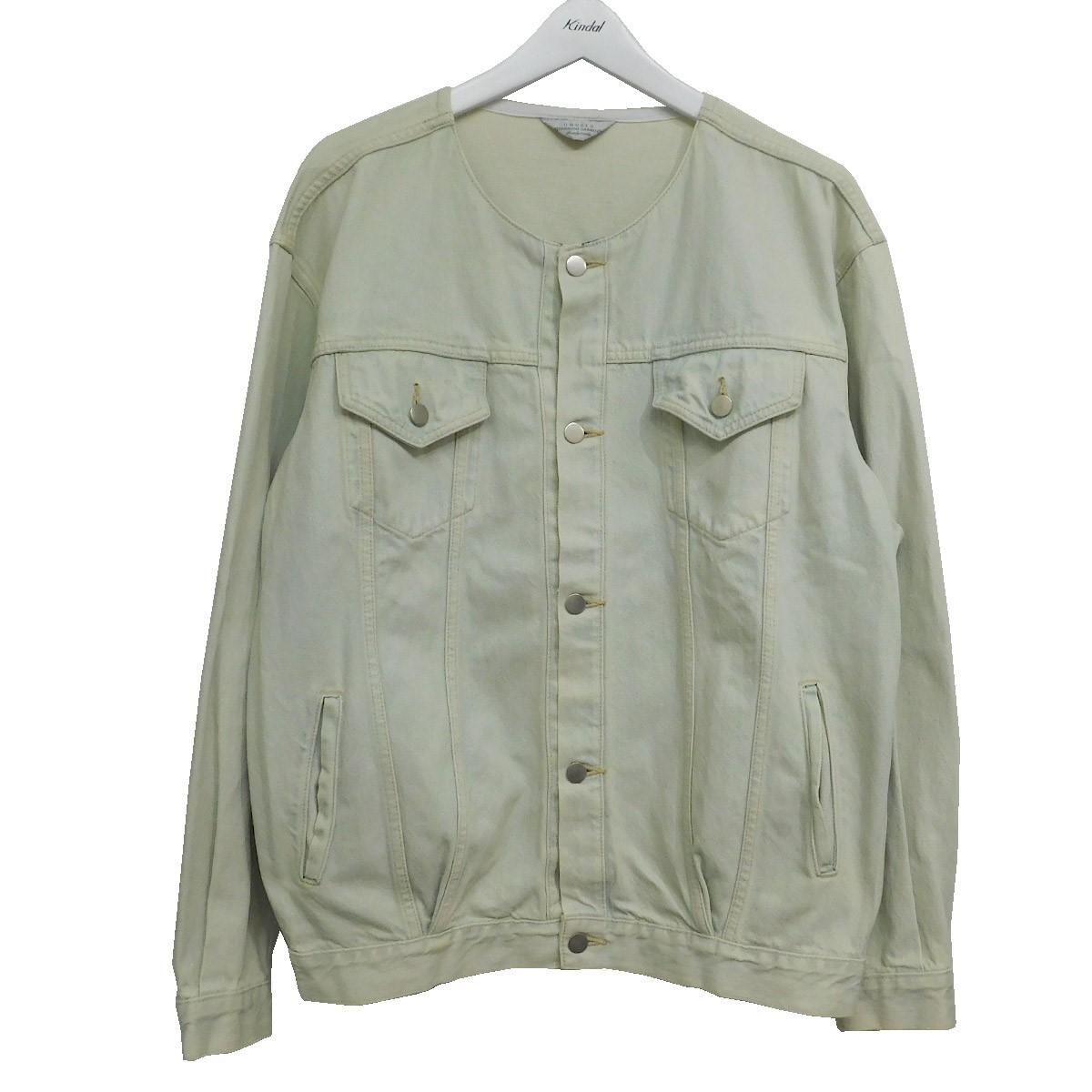 【中古】UNUSED ノーカラーデニムトラッカージャケット インディゴ サイズ:2 【030720】(アンユーズド)