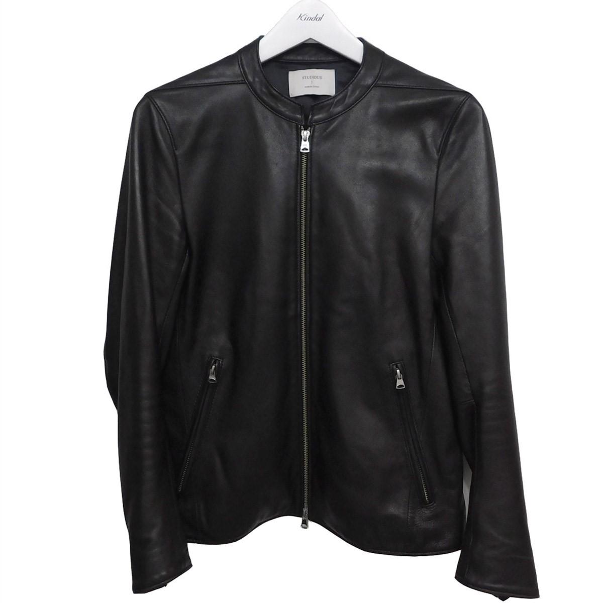 【中古】STUDIOUS ラムレザーシングルライダースジャケット ブラック サイズ:1 【030720】(ステュディオス)