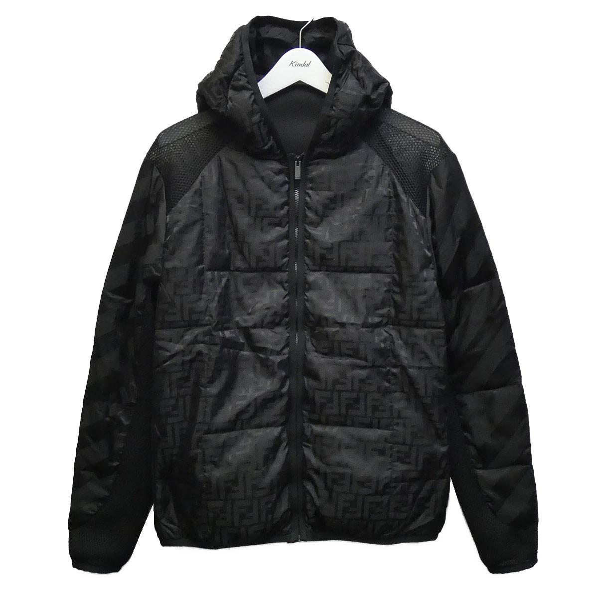 【中古】FENDI 20SS ズッカ柄メッシュ切替ナイロンジャケット ブラック サイズ:46 【050720】(フェンディ)