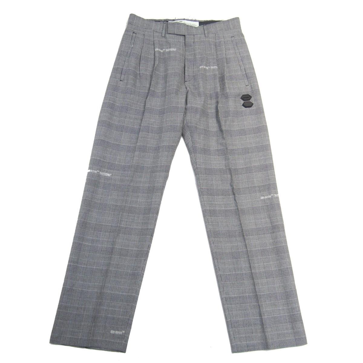 【中古】OFF-WHITE Houndstooth Tailoerd Trouser Pants トラウザーパンツ グレー サイズ:46 【050720】(オフホワイト)